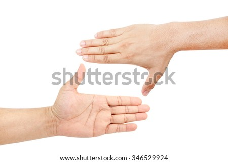 Caucasian man hands creating a frame isolated on white background