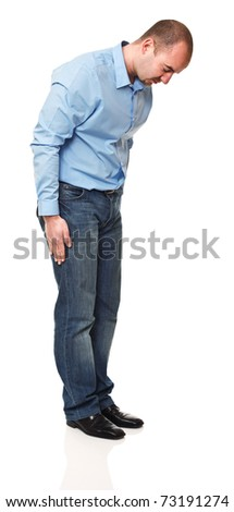 caucasian man in bow position isolated on white background