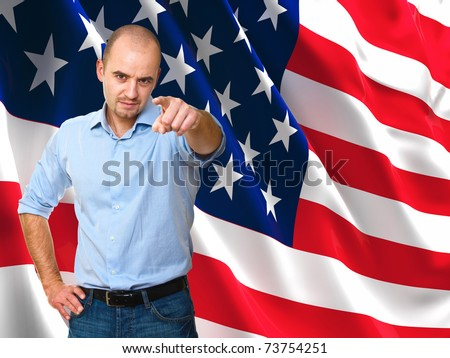 caucasian man pointing and  america flag background