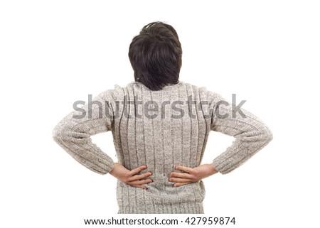 caucasian man portrait backache pain on studio isolated white background - stock photo