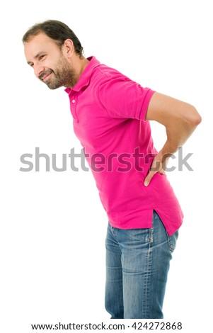 caucasian man portrait backache pain portrait on studio isolated white background - stock photo