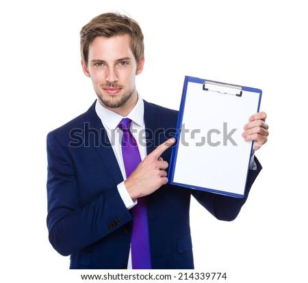 Caucasian man present - stock photo