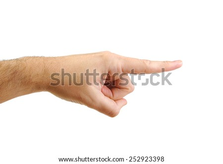 Caucasian man's hand pointing to the right direction - stock photo