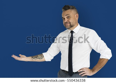 Caucasian Man Showing Hand Gesture