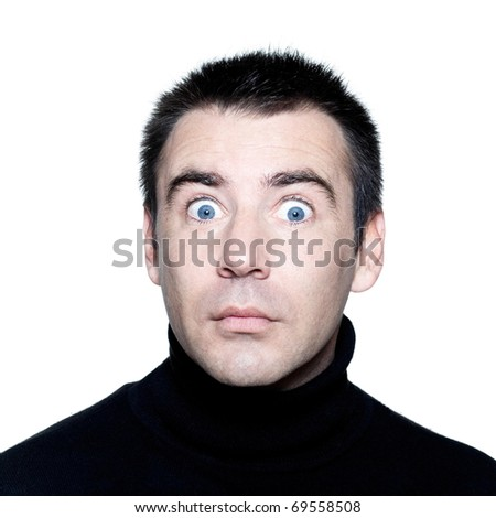 caucasian man stun surprised startle  portrait expressing portrait on studio isolated white background