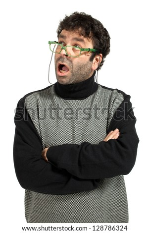 caucasian man with glasses cross his arms in studio on white background
