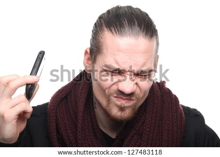 Caucasian man with his telephone