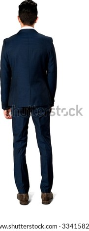 Caucasian man with short dark brown hair in business formal outfit - Isolated