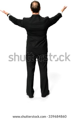 Caucasian man with short medium blond hair in business formal outfit with arms open - Isolated