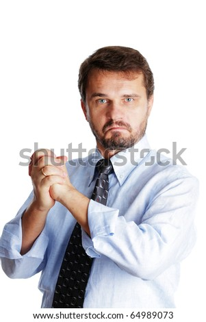 Caucasian mature businessman makes a victory sign and looking to the camera, isolated over white background - stock photo