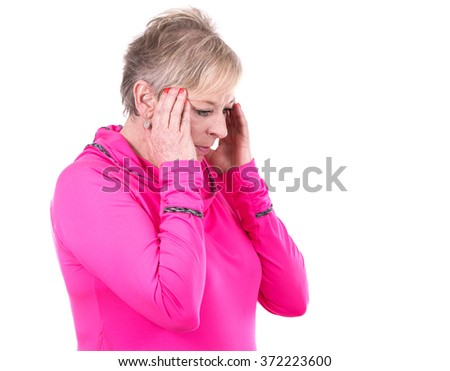 caucasian middle aged woman is having a pain on white background