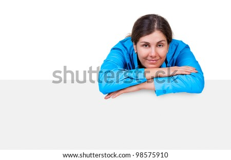 Caucasian model with a banner isolated on white - stock photo