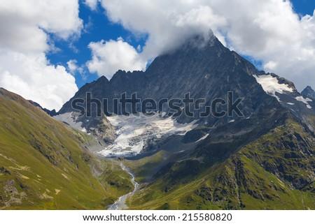caucasian mountain scene - stock photo