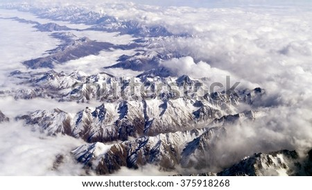 Caucasian mountains, shot from airplane - stock photo