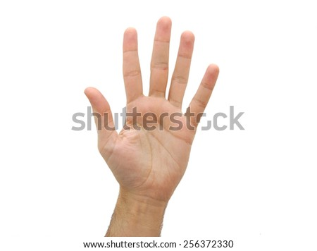 Caucasian open man hand. Number five gesture isolated on white background - stock photo