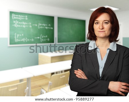 caucasian teacher in 3d classroom