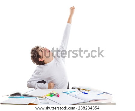 Caucasian Teenager boy sitting while doing homework poses as a superhero going to fly away with left arm high towards the sky in front of blank book - stock photo