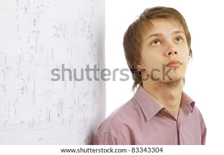 Caucasian teenager looks up contemplative.Isolated on white background. - stock photo