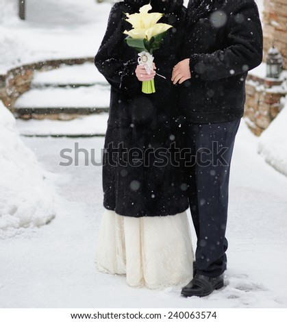 Caucasian wedding couple. Winter atmosphere.  - stock photo