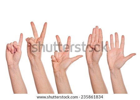 Caucasian white female hands counting from one to five fingers, isolated on white background.