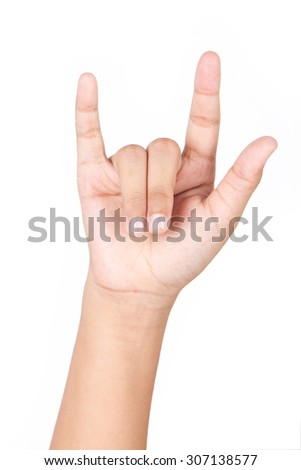 Caucasian white girl hand making love sign isolated on white background