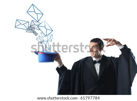 caucasian wizard make magic game with 3d letter - stock photo