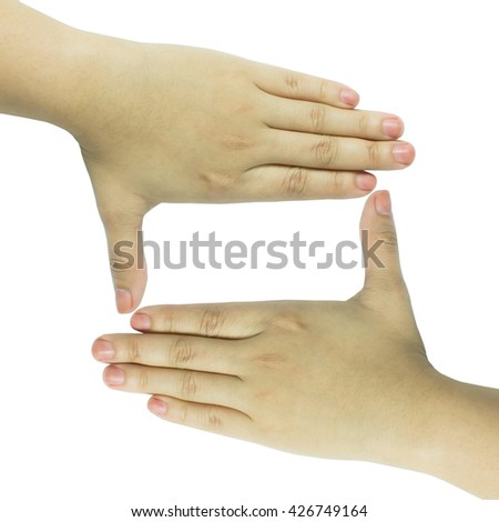 Caucasian woman hands creating a frame isolated on white backgro - stock photo