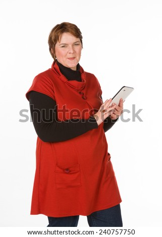 Caucasian woman in orange and blue  - stock photo