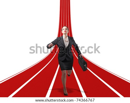 caucasian woman run on 3d path