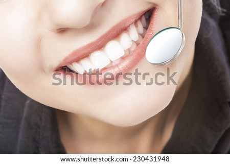 Caucasian Woman White Teeth with Dentist Mouth Mirror. Horizontal Image - stock photo