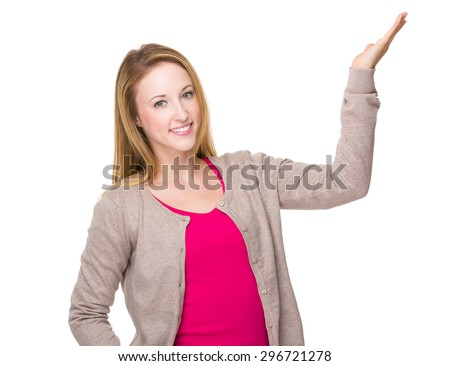 Caucasian woman with open hand palm - stock photo