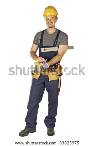 caucasian young handyman wearing gloves isolated on white background