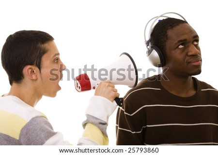 caucasian young man shouting to a african young man