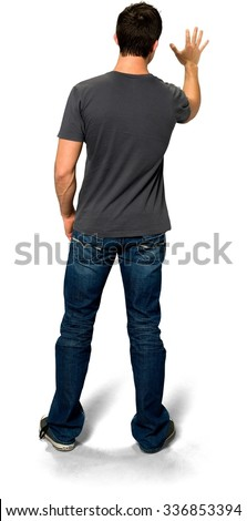 Caucasian young man with short black hair in casual outfit showing stop hand - Isolated - stock photo
