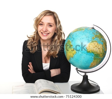caucasian young teacher on white background