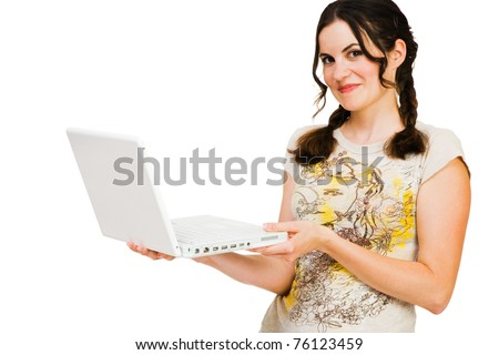Caucasian young woman holding a laptop isolated over white - stock photo