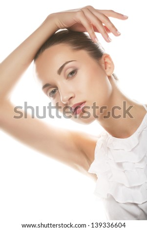caucasian young woman isolated on white - stock photo