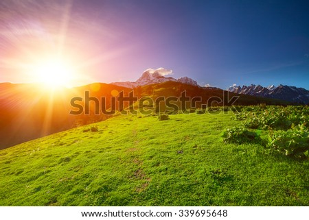 Caucasus mountains in Georgia. Beautiful landscape in Kazbeki region in Georgia - stock photo