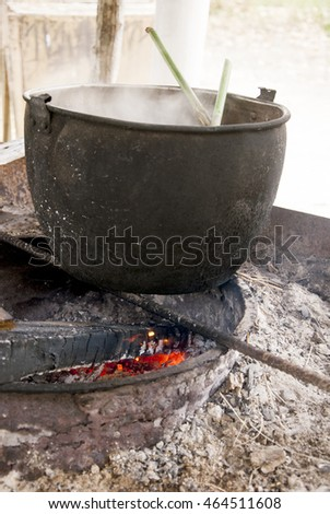 Cauldron On Fire - Traditional way to prepare the food in Manta - Ecuador