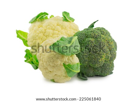 cauliflower and broccoli isolated on white background - stock photo