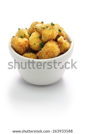 cauliflower bites, vegetarian food on white background - stock photo