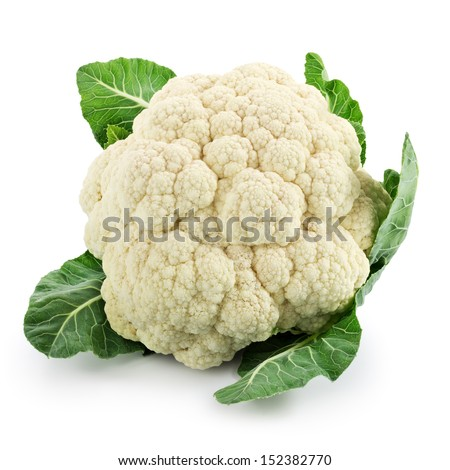 Cauliflower isolated on white background - stock photo