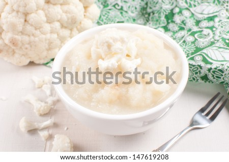 Cauliflower puree in bowl mashed - stock photo