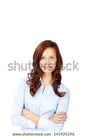 Causal female in curly hair posing with arms crossed