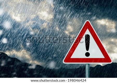Caution - bad weather - stock photo