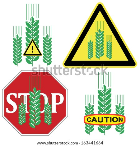Caution Grains. Beware of Gluten in grains like wheat, barley, rye and processed foods due to allergic reaction - stock photo