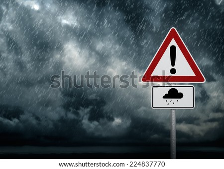 Caution - Heavy Rain Symbol - stock photo