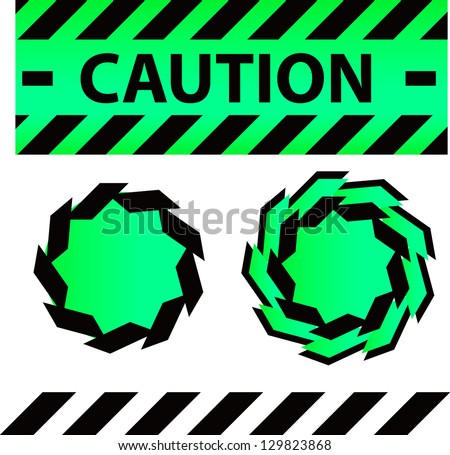Caution or danger and police tape attention with lables stickers and design elements set - stock photo