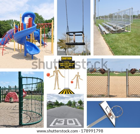 Caution Residential Neighborhood Children and Families Playing Collage (playground, baby swing, basketball hoop, street thirty mile per hour sign, baseball field, bleachers) - stock photo