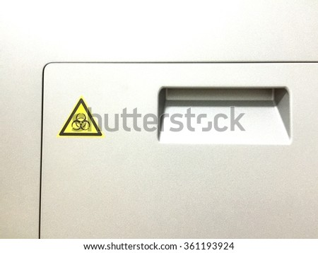 Caution symbol and infected symbol.Control system area. - stock photo